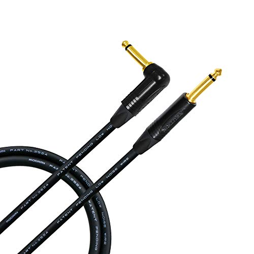 3 Foot - Guitar Bass Instrument Cable CUSTOM MADE By WORLDS BEST CABLES - using Mogami 2524 wire and Neutrik NP2RX-B & NP2X-B ¼ Inch (6.35mm) Gold TS Connectors