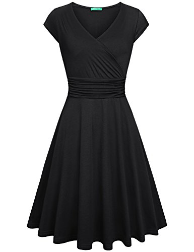 Kimmery A Line Black Dress, Women Elegant V Neck Wrap Dresses Midi Pleated Cap Sleeve Dress Crossover Neckline Empire Waist Outdoor Cocktail Party Retro Soft Swing Fall Dress Black L ()