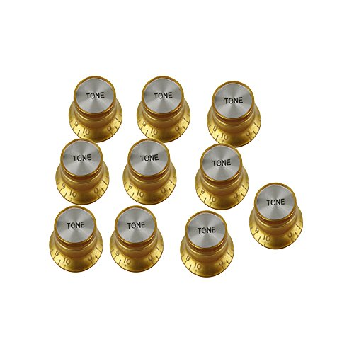 Musiclily Bell Hat style Speed Knobs Tone Control Knobs for Gibson Les Paul Style Electric Guitar, Gold (Pack of (Gold Bell Knobs)