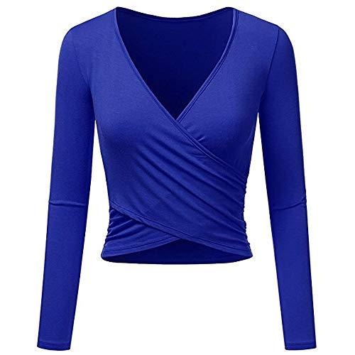(Eleangel Women's Long Sleeve Wrap Crop Tops Deep V Neck Designed Slim Fit Coss T Shirts (M, Blue))