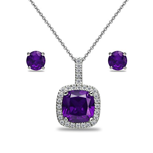 - Sterling Silver African Amethyst and White Topaz Cushion-Cut Pendant Necklace & Stud Earrings Set
