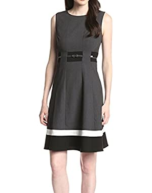 Calvin Klein Charcoal Womens Belted Sheath Dress Gray 2
