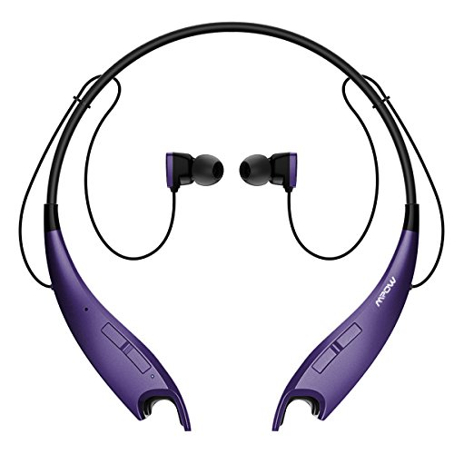 Mpow Jaws V4.1 Bluetooth Headphones Wireless Neckband Headset Stereo Noise Cancelling Earbuds w/Mic-Purple