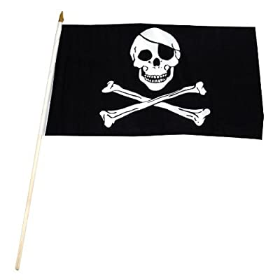US Flag Store Pirate Jolly Roger Stick Flag, 12 by 18-Inch Outdoor, Home, Garden, Supply, Maintenance : Garden & Outdoor