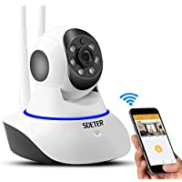 SDETER 720P Home Wireless IP Camera, Wifi Security Camera with Night Vision and Pan Tilt SD Card Slot Alarm for Tablet and Smartphone