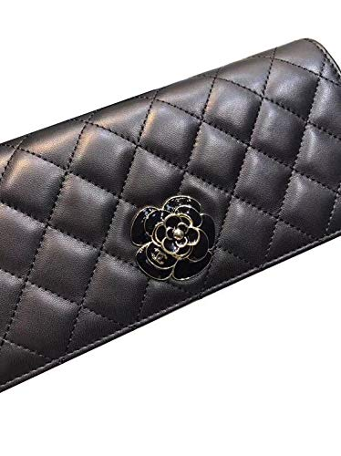 Black Small Shoulder Bag Quilting Clutches Camellia Lambskin Evening Bags ()