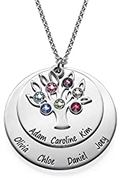 Personalized Family Tree Jewelry - Mothers Birthstone Necklace in Silver - Special Gift