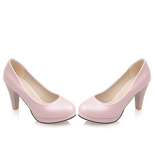 Delle talloni Chiusa Molle scarpe Estraibili Alto Su Weipoot Punta Solidi Rotonda Donne Materiale Rosa Pompe WZ5RzH