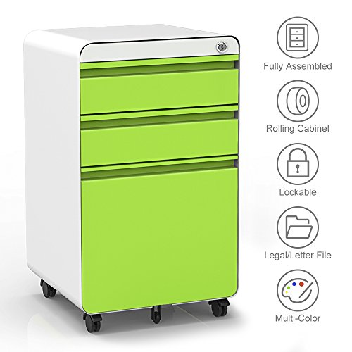 3-Drawer Filling Cabinet, Metal Vertical File Cabinet with Hanging File Frame for Legal & Letter File Install-Free Anti-tilt Design and Lockable System Office Rolling File Cabinet-Green