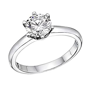 IGI Certified 14k white-gold Round Cut Diamond Engagement Ring (0.59 cttw, G Color, SI2 Clarity) - size 5