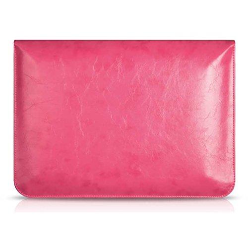 YiJee Fundas para Portatil PU Cuero de Impermeable Funda Blanda Bolso Sleeve para Ordenador Portátil Macbook Pro Air de 11.6-15 Pulgadas 15 Inch Rose