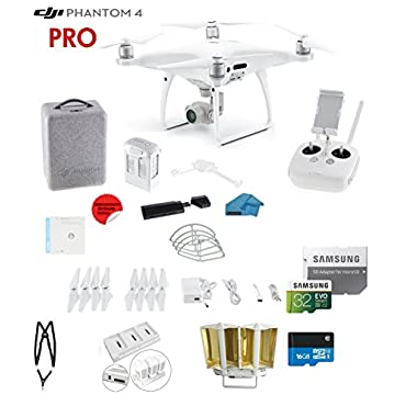 DJI Phantom 4 PRO Quadcopter Drone with 1 20MP 4K Camera KIT + 32GB Micro SD Card + Universal Card Reader 3.0 + Snap on Prop Guards + Charging Hub + Range Extender + Harness