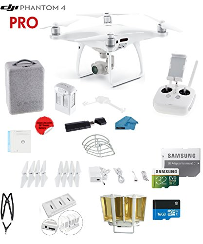 DJI Phantom 4 PRO Quadcopter Drone with 1-inch 20MP 4K Camera KIT + 32GB Micro SD Card + Universal Card Reader 3.0 + Snap on Prop Guards + Charging Hub + Range Extender + Harness