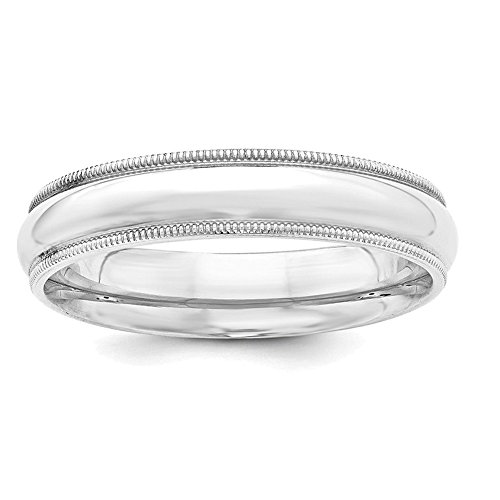 Lex & Lu Sterling Silver 5mm Milgrain Comfort Fit Band Ring-Prime