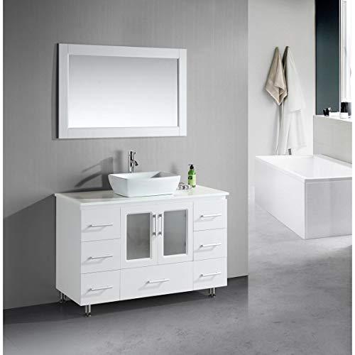 Design Element Stanton Single Vessel Sink Vanity Set with White Finish, 48-Inch ()