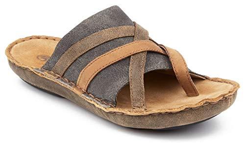 Pebble Grain Vinyl - Tamarindo Sanddollar Sandal Women's Leather Softbed Flip Flop - Suntan/Pebble - 6
