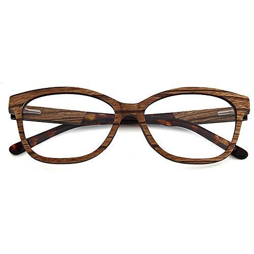 Gimitunus los Gafas artísticas Marrón Hechas de de para Madera Semi Calidad Gafas Hombre Ligero a sin Color Gafas Ocio de Ojo de Alta Marrón del Ultra rebordes Mano Gato Hombres de rBW61gqrc