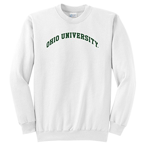 Campus Merchandise NCAA Ohio University Arch Classic Crewneck Sweatshirt, White, Medium