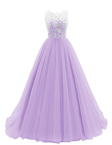 DRESSTELLS Women's Long Tulle Prom Dress Dance Gown with Lace Lavender Size ()