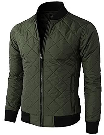 H2H Mens Fashion Premium Quilted Lightweight Zip up Long Sleeve Jacket KHAKI US S/Asia M (KMOJA0301)