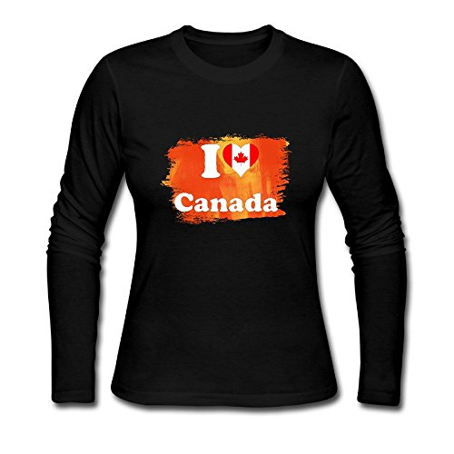 Women I LOVE CANADA Long Sleeve Athletic Cotton Crew Neck - Canada Clothing Versace