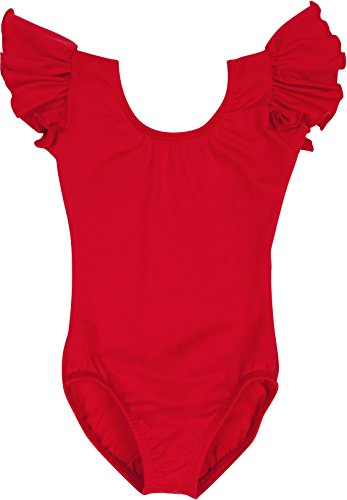 Toddler and Girls Leotard for Dance, Gymnastics and Ballet with Flutter Ruffle Short Sleeve Red XS