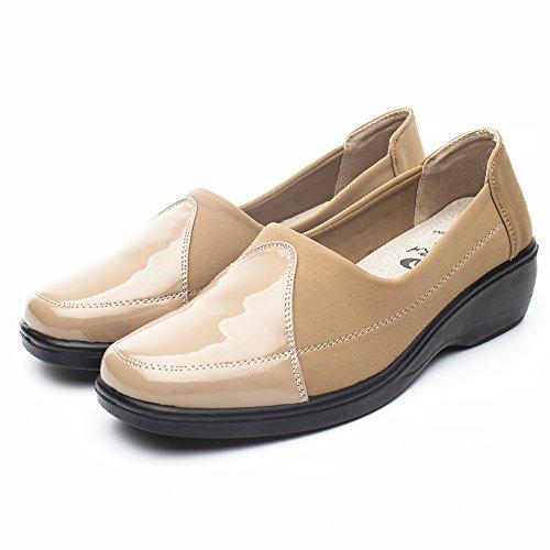 DRKA Women's Casual Loafer Comfort Slip On Flat Shoe Apricot932