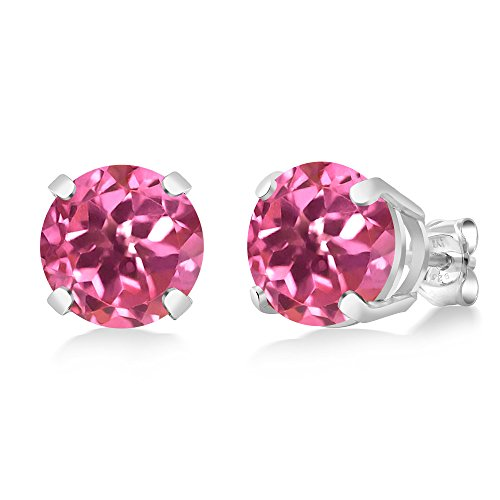 Gem Stone King 4.00 Ct Round 8mm Pink Mystic Topaz 925 Sterling Silver Stud Earrings