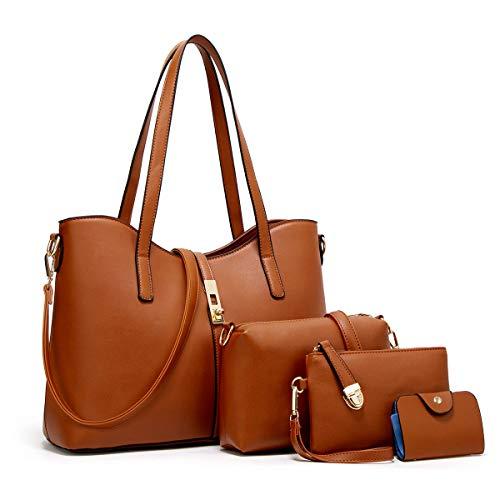 YTL Women Fashion Synthetic Leather Handbags+Shoulder Bag+Purse+Card Holder 4pcs Set Tote ()