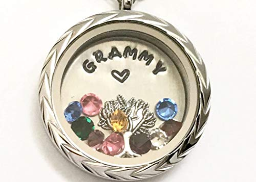 GRAMMY Necklace - Personalized Floating Charm Locket - Memory Locket - Custom Hand Stamped Gift for Mom, Grandma, Granny - Meaningful Mother's Day ()