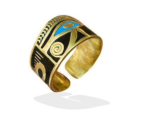 bonballoon Egyptian Horus eye Finger Ring Eye of Horus FingerRing Hieroglyphics Pharaoh Goddess Eye of Horus Solid Brass Hand Engraved Adjustable Egypt pharaohs Costume Jewelry Accessory Handmade