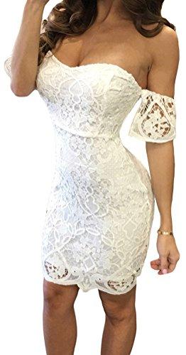 [YeeATZ Women White Short Sleeve Off Shoulder Lace Bodycon Midi Dress] (Pumpkin Outline Printable)