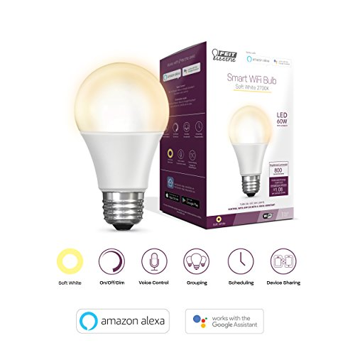Feit Electric Smart WiFi LED Dimmable 60W Equivalent Soft White (2700K) A19 Light, Hub Required, Alexa Google Assistant Bulb (A800/827/AG)