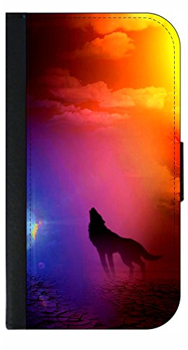 Howling Wolf - Wallet Style Flip Phone Case Compatible with s3/s4/s5/s6/s6edge/s7/s7edge/s8/s8Plus - Select Your Compatible Phone Model