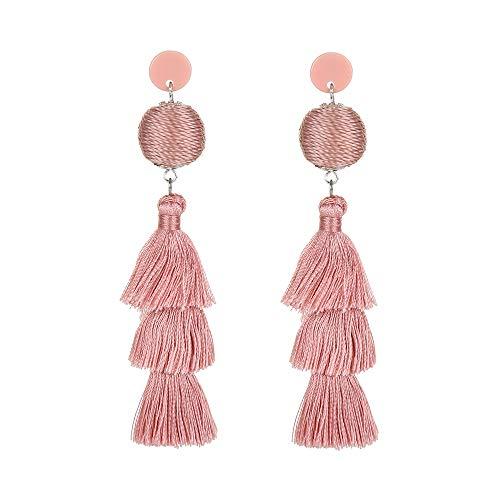 Colorful Tassel Earrings - Fashion Ball Thread Layered Tassel Chandelier Earrings, 3 Tiers Tassel Fringe Earrings, Bohemian Long Tassel Drop Dangle Earrings for Women - By LUNUBITA ()
