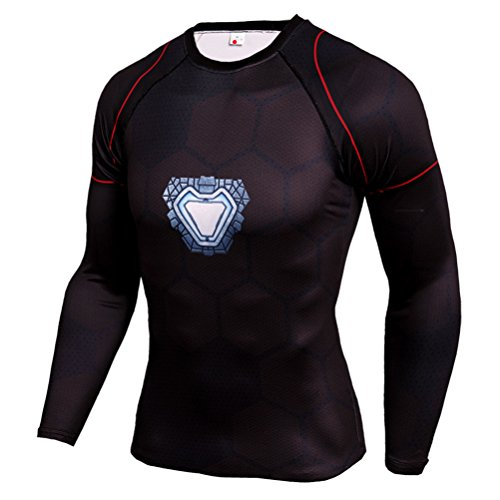 Mens Dri-Fit Compression Shirt,Super Heros IronMen Long Sleeve Workouts Tee XL