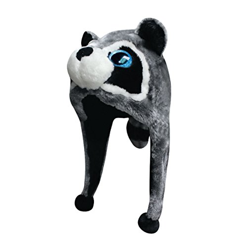 CSI New 2015 Plush Faux Fur Stuffed Animal Big Glitter Eye Critter Hat Cap - Over 25 Stlyes! (Ralphie Racoon)]()