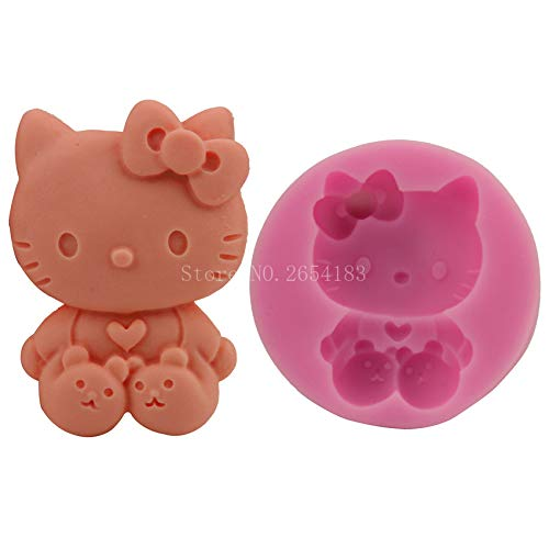 Cartoon Hello Kitty Cat Silicone Fondant Soap 3D Cake Mold Cupcake Jelly Candy Chocolate Decoration Baking Tool Moulds FQ2844 -