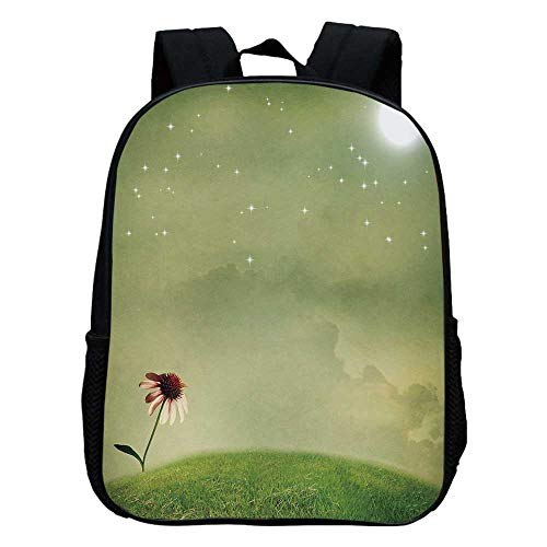 - Surrealistic Durable Kindergarten Shoulder Bag,Coneflower in the Field under Moon Sky Spring Blossoms Graphic Decorative For school,11.8