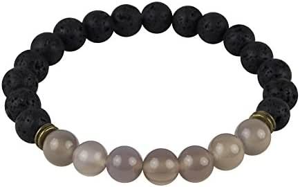 Mana Vibes Lava Rock and Grey Agate Essential Oil Beaded Diffuser Bracelet, Unisex Essential Oil Jewelry, 8mm Bead Size, Yoga Jewelry