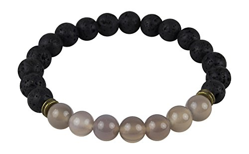- Mana Vibes Lava Rock and Grey Agate Essential Oil Beaded Diffuser Bracelet, Unisex Essential Oil Jewelry, 8mm Bead Size, Yoga Jewelry