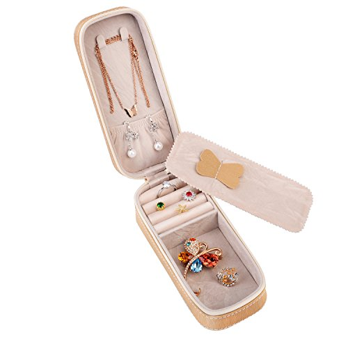 LOKHO Small Travel Home Use Jewelry Box Organizer Display Storage for Ring Earring Necklace (Champagne)