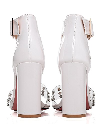 Aisun Women's Fashion Rivet Buckled High Chunky Heels Sandals White s2tC0