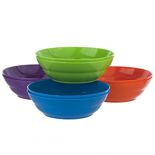 Sonoma 28-ounce Plastic Bowls for Cereal or Salad | set of 8 in 4 Classic Colors