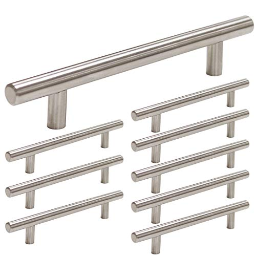 homdiy Brushed Nickel Cabinet Pulls 10 Pack 5in Hole Center Cabinet Handles - HD201SN Modern Cabinet Hardware Pulls Metal Drawer Pulls Steel Drawer Handles for Kitchen, - Drawer Pull 5 Inch