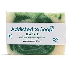 Addicted to Soap – Old Fashioned Natural Shampoo Bar 5 Ounces Eco-Friendly Solid Bar Shampoo for Men & Women Organic Coconut Oil Sulfate Free Leaves Hair Shiney Soft (Tea Tree Shampoo Bar)