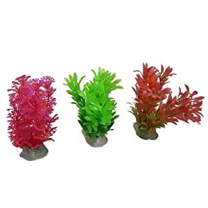 Uxcell 3-Piece Fish Tank Water Plant/Grass, 4.5-Inch, Assorted/Color