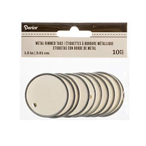 Darice White Silver Rimmed Tags, 10 Piece