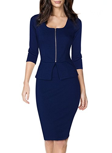 blue work dress - 2