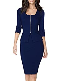 Miusol Women's Square Neck Business Peplum Fitted Casual Bodycon Dress